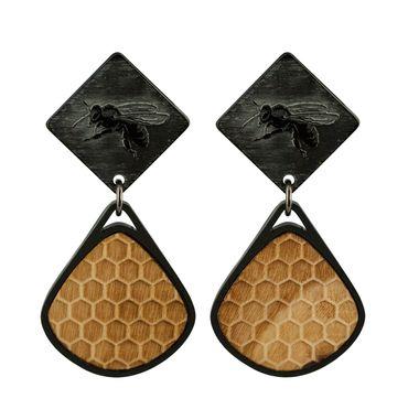 Ohrhänger zweiteilig Bienenrelief und Wabenstruktur aus Holz