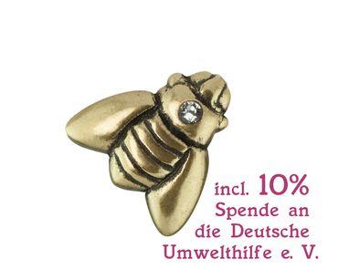 Pin Honigbiene Bienenkönigin Metall mit Swarovski-Kristall