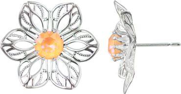 Princess Anemone Filigrane Blütenohrstecker mit 6 mm Swarovski Kristall – Bild 1