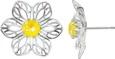 Princess Anemone Filigrane Blütenohrstecker mit 6 mm Swarovski Kristall – Bild 2