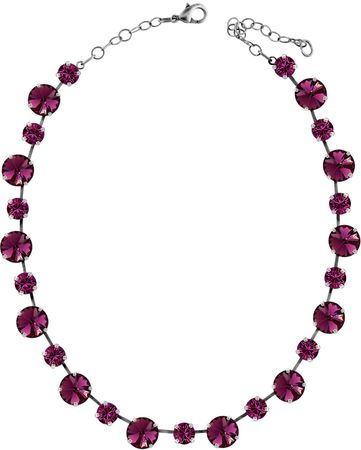 short necklace with 12 and 9mm Swarovski chaton crystals, silver plated, unicolour – Bild 2