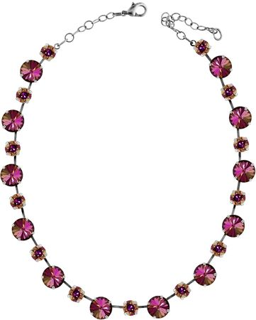 short necklace with 12 and 9mm Swarovski chaton crystals, silver plated, unicolour – Bild 13