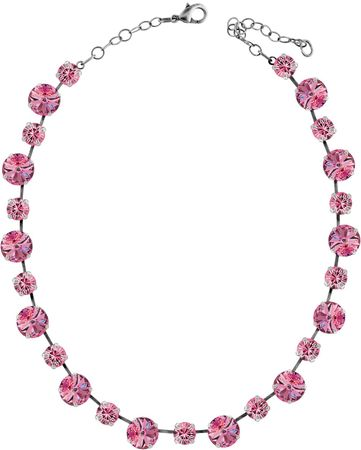 short necklace with 12 and 9mm Swarovski chaton crystals, silver plated, unicolour – Bild 16