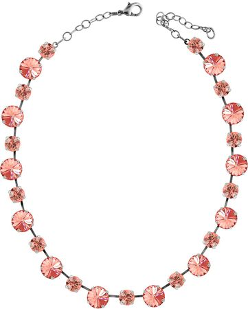 short necklace with 12 and 9mm Swarovski chaton crystals, silver plated, unicolour – Bild 18