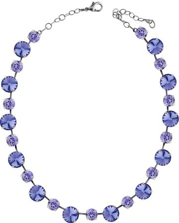 short necklace with 12 and 9mm Swarovski chaton crystals, silver plated, unicolour – Bild 24