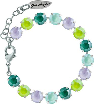 Classical bracelet with 9mm Swarovski chatons, mixed colors, silver plated – Bild 4