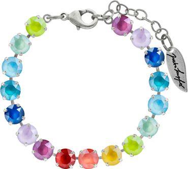 Classical bracelet with 6mm Swarovski chatons, mixed colors, silver plated – Bild 14