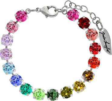 Classical bracelet with 6mm Swarovski chatons, mixed colors, silver plated – Bild 15