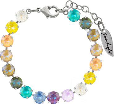 Classical bracelet with 6mm Swarovski chatons, mixed colors, silver plated – Bild 1