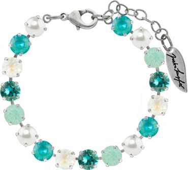 Classical bracelet with 6mm Swarovski chatons, mixed colors, silver plated – Bild 3