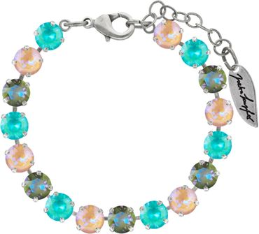 Classical bracelet with 6mm Swarovski chatons, mixed colors, silver plated – Bild 4