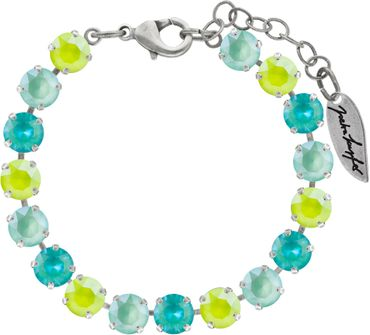 Classical bracelet with 6mm Swarovski chatons, mixed colors, silver plated – Bild 5