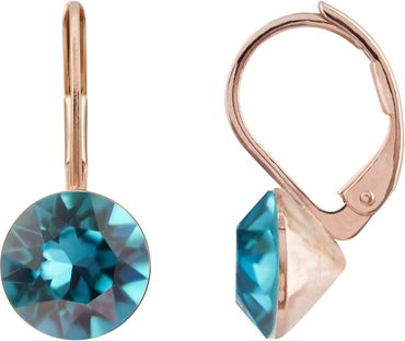 classical earring with 9mm Swarovski chaton, rosegold plated – Bild 15