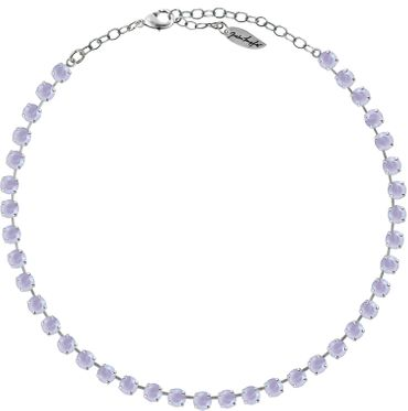 Classical Necklace with 6mm Swarovski Crystals, silver plated,plain colored – Bild 6
