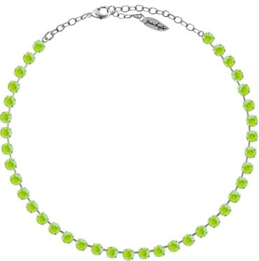 Classical Necklace with 6mm Swarovski Crystals, silver plated,plain colored – Bild 4