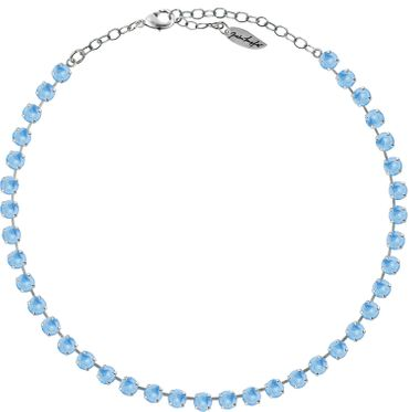 Classical Necklace with 6mm Swarovski Crystals, silver plated,plain colored – Bild 1