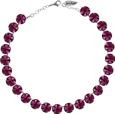 Classical Necklace with 12mm Swarovski Crystals, silver plated, plain colored – Bild 2