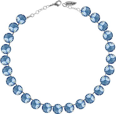 Classical Necklace with 12mm Swarovski Crystals, silver plated, plain colored – Bild 16