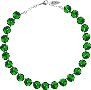 Classical Necklace with 12mm Swarovski Crystals, silver plated, plain colored – Bild 23