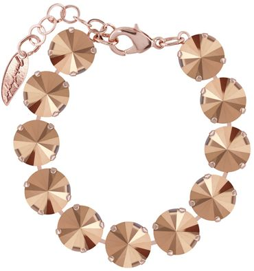 Bracelet with 12mm Swarovski Rivoli crystal, rosegold plating – Bild 2