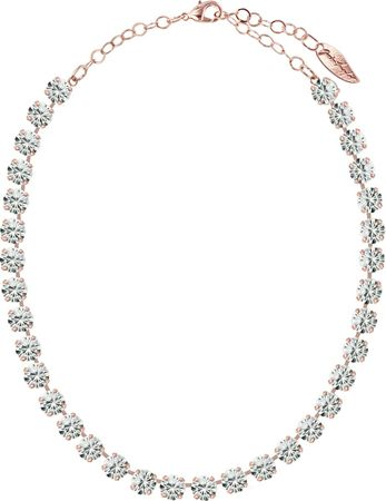 Classical Necklace with 9mm Swarovski Crystals, rosegold plated, plain colored – Bild 10