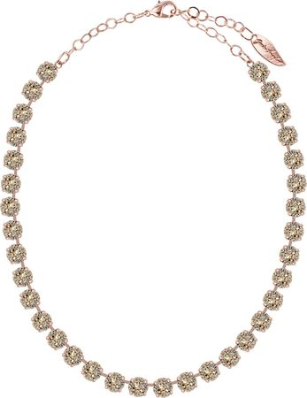 Classical Necklace with 9mm Swarovski Crystals, rosegold plated, plain colored – Bild 3