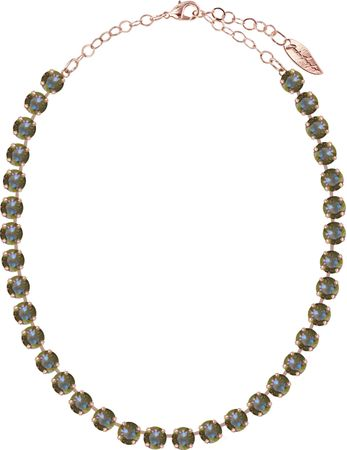 Classical Necklace with 9mm Swarovski Crystals, rosegold plated, plain colored – Bild 12