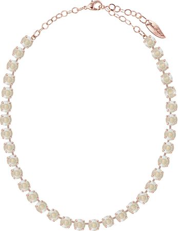 Classical Necklace with 9mm Swarovski Crystals, rosegold plated, plain colored – Bild 19