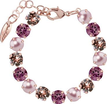 Classical bracelet with 9mm Swarovski chatons, mixed colors, rosegold plated – Bild 14