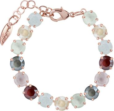 Classical bracelet with 9mm Swarovski chatons, mixed colors, rosegold plated – Bild 20