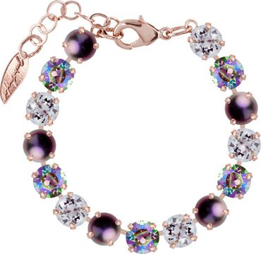 Classical bracelet with 9mm Swarovski chatons, mixed colors, rosegold plated – Bild 18