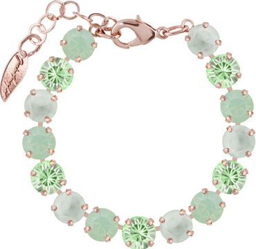 Classical bracelet with 9mm Swarovski chatons, mixed colors, rosegold plated – Bild 5