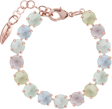 Classical bracelet with 9mm Swarovski chatons, mixed colors, rosegold plated – Bild 17
