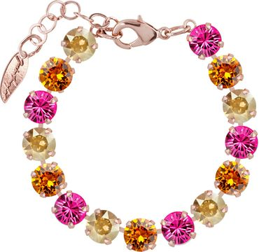 Classical bracelet with 9mm Swarovski chatons, mixed colors, rosegold plated – Bild 12