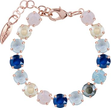 Classical bracelet with 9mm Swarovski chatons, mixed colors, rosegold plated – Bild 1