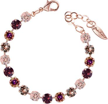 Classical bracelet with 6mm Swarovski chatons, mixed colors, rosegold plated – Bild 8