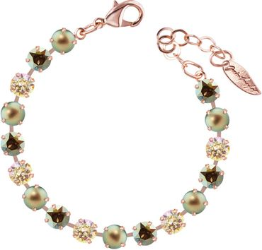 Classical bracelet with 6mm Swarovski chatons, mixed colors, rosegold plated – Bild 11