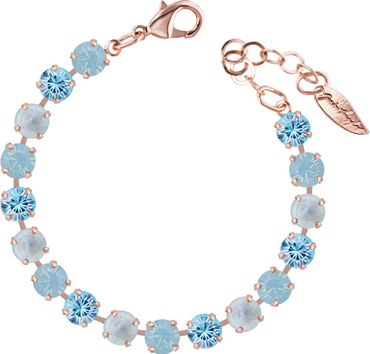 Classical bracelet with 6mm Swarovski chatons, mixed colors, rosegold plated – Bild 2