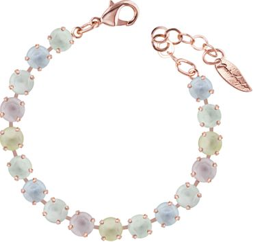 Classical bracelet with 6mm Swarovski chatons, mixed colors, rosegold plated – Bild 5