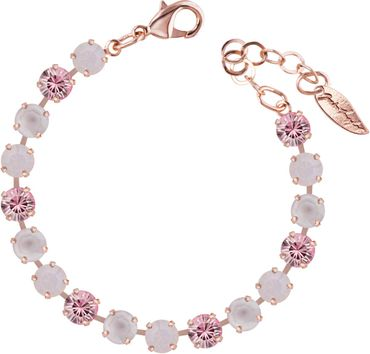 Classical bracelet with 6mm Swarovski chatons, mixed colors, rosegold plated – Bild 6