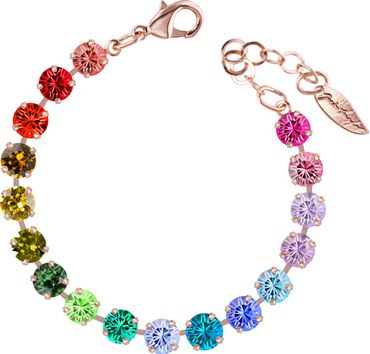 Classical bracelet with 6mm Swarovski chatons, mixed colors, rosegold plated – Bild 20