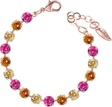 Classical bracelet with 6mm Swarovski chatons, mixed colors, rosegold plated – Bild 12