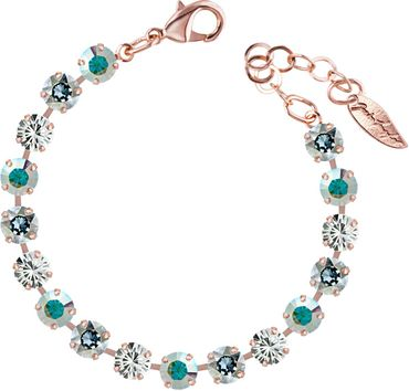 Classical bracelet with 6mm Swarovski chatons, mixed colors, rosegold plated – Bild 15