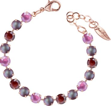 Classical bracelet with 6mm Swarovski chatons, mixed colors, rosegold plated – Bild 21