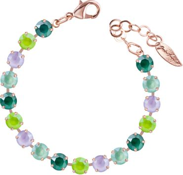 Classical bracelet with 6mm Swarovski chatons, mixed colors, rosegold plated – Bild 24