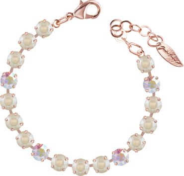 Classical bracelet with 6mm Swarovski chatons, mixed colors, rosegold plated – Bild 23