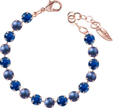 Classical bracelet with 6mm Swarovski chatons, mixed colors, rosegold plated – Bild 25