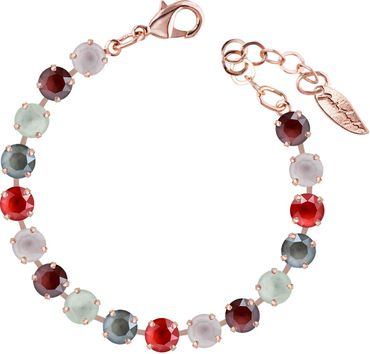 Classical bracelet with 6mm Swarovski chatons, mixed colors, rosegold plated – Bild 19