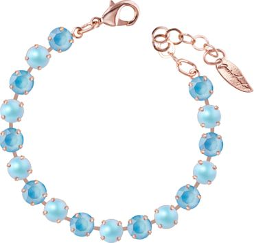 Classical bracelet with 6mm Swarovski chatons, mixed colors, rosegold plated – Bild 1