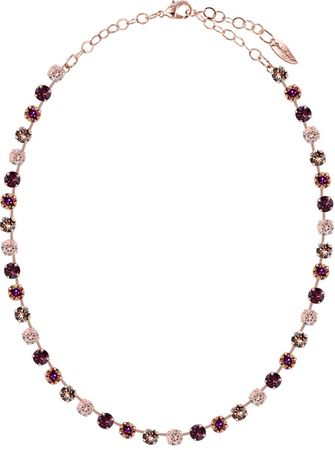 short necklace with 6mm Swarovski chaton crystals, rosegold plated, mixed colours – Bild 8